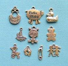 Baby Charm Collection Antique Tibetan Silver by BohemianFindings, $3.50