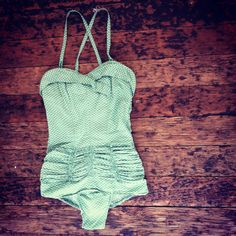 1950's swimsuit, gathered bottom, one piece, mint green