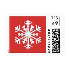 #Red and White Snowflake Postage Stamp - #Xmas #ChristmasEve Christmas Eve #Christmas #merry #xmas #family #holy #kids #gifts #holidays #Santa