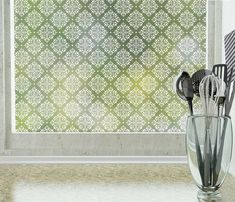 Damask Privacy Window Film (Non-adhesive) - Standard 36 in. x 48 in.