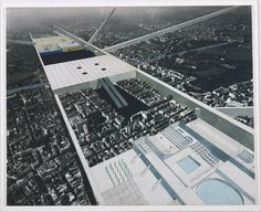 Exodus, or the Voluntary Prisoners of Architecture: The Strip (Aerial Perspective) Rem Koolhaas, and Elia Zenghelis, Madelon Vriesendorp, Zoe Zenghelis Oma Architecture, Collage Architecture, Conceptual Architecture, Architecture Drawings, Architecture Mapping, Architecture Diagrams, Classic Architecture, Conceptual Design, Rem Koolhaas