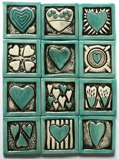 Sea green mini hearts