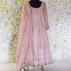 Items similar to Pink chickankari anarkali gown on Etsy