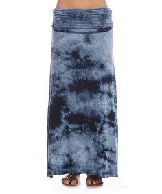 This Urban X Navy & White Tie-Dye Maxi Skirt by Urban X is perfect! #zulilyfinds