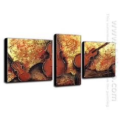 Hand-painted Oil Painting Musical Instrument - Set of 3 -Canvas Sets