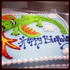 Dragon buttercream sheet cake for birthday.