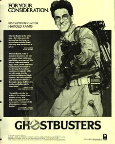 Ghostbusters - Egon, for your consideration. Extreme Ghostbusters, Harold Ramis, For Your Consideration, Best Supporting Actor, Ghost Busters, Film Movie, 1980's Movies, Pulp Fiction, Caricature