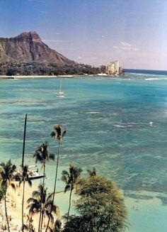 The Halekulani's strip of Waikiki, with Diamond Head in the distance