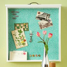 Turn an old drawer into a magnetic board.