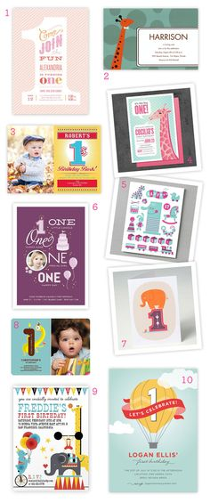 first birthday invites. Ideas for belles 1st. Like number 1