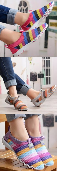 $17.74 Hot Sale Rainbow Colorful Striper Mesh For Women Breathable Slip On Flat Sport Shoes | women's flat shoes| flat shoes women| womens flats| casual sport shoes women| flat sport shoes| women outdoor shoes|travel shoes women| sport shoes female|sporty shoes |