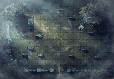 Graveyard, a printable battle map for Dungeons and Dragons / D&D, Pathfinder and other tabletop RPGs. Tags: ruins, lost, undead, spiders, fog, web, horror, encounter, point defense, stones, crypt, print, tomb, grave, cemetery