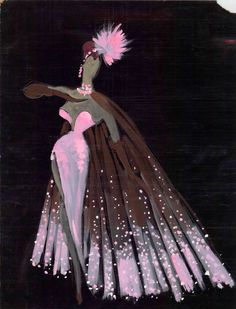 """A 1950's Donn Arden costume design drawing of a showgirl wearing a pink gown and matching brown cape with pink trim.  The outfit is accessorized with brown gloves and a pink, feathered headpiece.  Image is part of UNLV Libraries """"Showgirls"""" digital collection."""