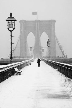 Wonderful Snow Photography   Alone on the Bridge by Anthony Pitch
