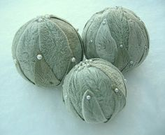 """""""Lambs Ears"""" leaves on foam balls with corsage pins. Great texture1"""