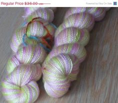 """Christmas in July Luxury Cashmere Yarn With Silk, Hand Dyed 2-ply Light Pink and Apple Green """"Gabrielle Delacour, Harry Potter Saga"""""""