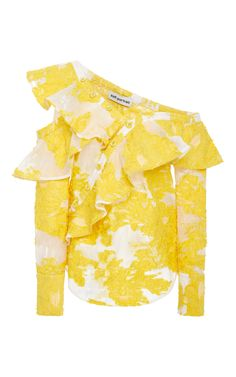 Floral Fil Coupe Ruffled Off The Shoulder Top by SELF PORTRAIT Now Available on Moda Operandi
