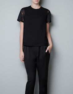 TWO-TONE LACE BLOUSE - Shirts - Woman - ZARA Denmark