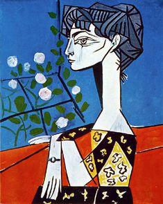 1954 Jacqueline avec des fleurs de Pablo Picasso