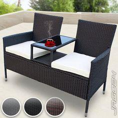 Polyrattan Gartensofa Gartenbank mit Tisch Sitzbank Tete-a-Tete Bank Gartenmöbel