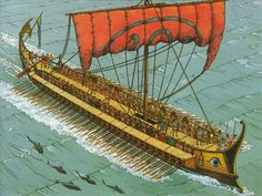 an Athenian trireme ~ Marc Henniquiau ~ I especially like the dolphins swimming along side...would have been a great sight...
