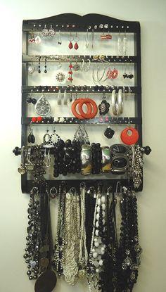 Jewelry Holder, Single Bangle Bracelet Organizer, Ebony (Black), Oak, Wood, Wall, Earring Display, 72-144 Pairs, 11 Necklace Pegs
