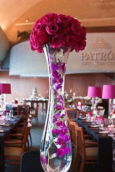 pink black damask reception wedding flowers,  wedding decor, wedding flower centerpiece, wedding flower arrangement, add pic source on comment and we will update it. www.myfloweraffair.com can create this beautiful wedding flower look.