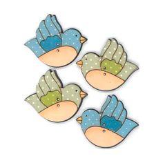 Botones decorativos de madera con forma de pájaros volando.  Medida: 3.7 x 3 cm.  El pack incluye tantos botones como aparecen en la imagen.
