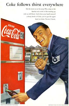 Coca Cola Ad - Korean War, This is one of the heaviest Coke machines ever made. I have an earlier model on my back porch. Propaganda Coca Cola, Coca Cola Poster, Coca Cola Ad, Always Coca Cola, Coca Cola Vintage, Pub Vintage, Vintage Signs, Vintage Posters, Vintage Graphic