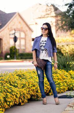 cute & little blog | petite fashion | jean kaori blue knit moto jacket, graphic tee, distressed jeans, leopard pumps, leopard clutch | fall outfit