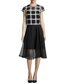 -67B5 Milly  Plaid Organza Cap-Sleeve Top Silk Organza Circle Skirt