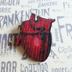 Kooky Large Printed Wood Red Anatomical Heart Victorian Medicine Quackery Brooch | eBay