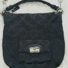 COACH Signature Bag Black Coach Signature Bag. Outside small pocket 13 W x 12 H Coach Bags