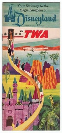 Beautiful Vintage TWA Southern California Travel Poster: Disneyland