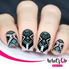 Diy Nail Designs, Acrylic Nail Designs, Aztec Designs, Nail Stamping Designs, Aztec Patterns, Paint Designs, Acrylic Nails, Nail Art Diy, Diy Nails