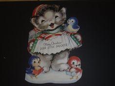 Vintage Greeting Card Christmas Rust Craft Birds Accordian Kitten Cat
