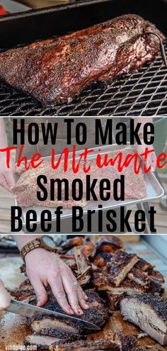Smoked Brisket - How to plus Tips and Tricks - Vindulge - Everything you need to know to make the ultimate Smoked Beef Brisket. Trimming, temperatures, and m - Beef Brisket Recipes, Bbq Brisket, Smoked Beef Brisket, Smoked Meat Recipes, Brisket On The Grill, Traeger Brisket, Best Smoked Brisket Recipe, Spinach Recipes, Sausage Recipes