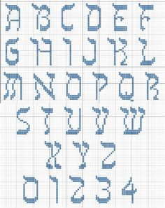 Hebrew Alphabet cross stitch font