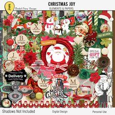 Christmas Joy - Digital Scrapbooking Full Kit by Racheletrogdesigns on Etsy