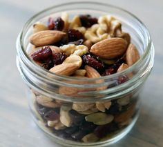 Delicious trail mix. Keep it in small bags in your car, purse or by the TV :)