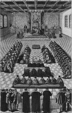 Queen Elizabeth I presiding over Parliament, circa 1580-1600.