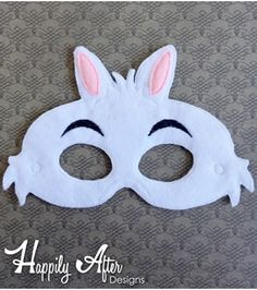 White Rabbit Mask ITH Embroidery Design Felt Mask Embroidery Designs