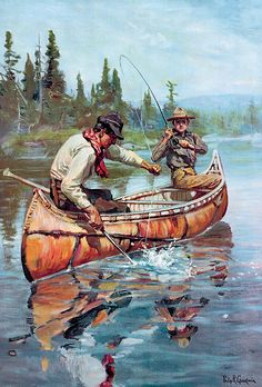 Two Fishermen In Canoe Print By Phillip R Goodwin