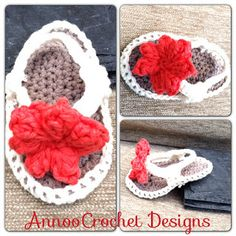 Annoo's Crochet World: Baby Flip Flops Free Pattern - step by step Photo tutorial - Bildanleitung