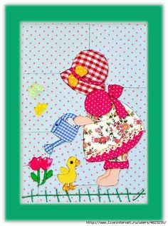 Patchwork sin aguja ~ Sunbonnet Sue watering flowers, watering can, pretty apron, duckling
