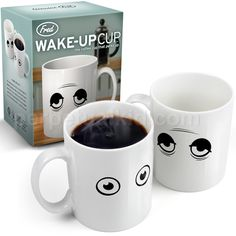 Coffee cup changes from tired looking eyes to perky eyes as it heats up! Love it