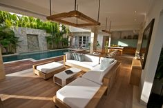 Canggu Vacation Rental - VRBO - 4 BR Bali Villa in Indonesia, Pantai Indah Villas - Discreet Luxury by the Sea Indoor Outdoor Living, Outdoor Living Areas, Outdoor Rooms, Outdoor Furniture Sets, Deck Furniture, Style At Home, Roof Truss Design, Outside Living, Tropical Houses