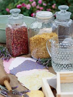 Paper+(we+used+white+copy+paper+and+construction+paper)+Blender+Dried+flowers+and+herbs+(optional)+Tub+Mold+(a+wooden+frame+with+a+screen+on+one+side).+Deckle+and+mold+kits+are+available+at+crafts+stores.+Deckle+(a+wooden+frame+without+a+screen)+Nylon+screen+the+size+of+the+mold+Sponge+Cotton+tea+towels+Rolling+pin+Blotting+paper+Heavy+book
