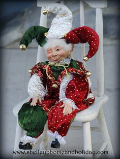 NEW Christmas elf decoration! Our Christmas Jester Elf is filled with Christmas cheer. Measuring 19 inches tall and filled. Christmas Fashion, Christmas Love, Christmas Carol, Vintage Christmas, Christmas Holidays, Christmas Ornaments, Christmas Things, Elf Decorations, Disney Christmas Decorations
