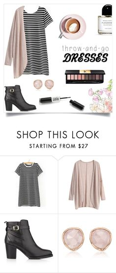 """""""T-shirt Dress"""" by lostandfound92 ❤ liked on Polyvore featuring WithChic, Kurt Geiger, Martha Stewart, Monica Vinader, Yves Saint Laurent, dress and falloutfit"""
